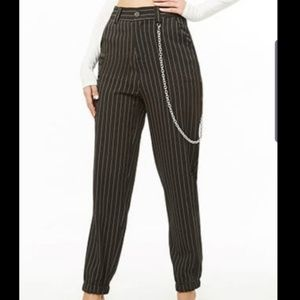 Brand new black pinstripe ankle pants with chain